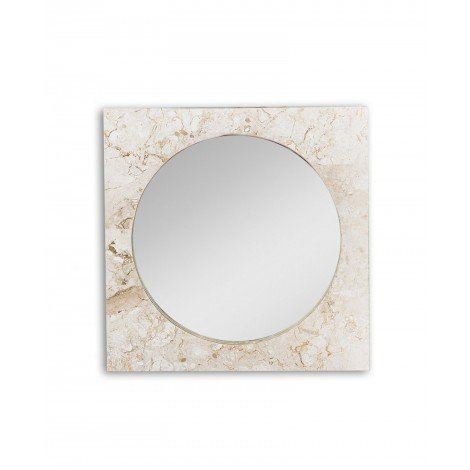 Square Fossil fossil stone mirror available in two finishes
