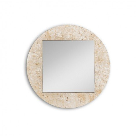 Round Fossil mirror with fossil stone frame available in two finishes recommended for modern or stylish environments