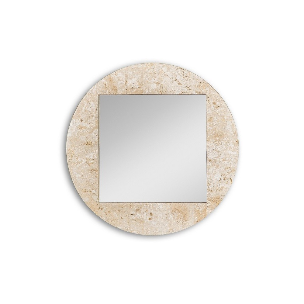 Mirror with fossil stone frame available in two finishes