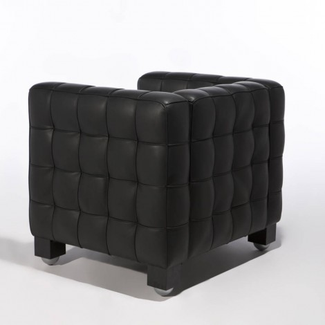 Re-edition of the Kubus armchair by Josef Hoffmann in real Italian leather
