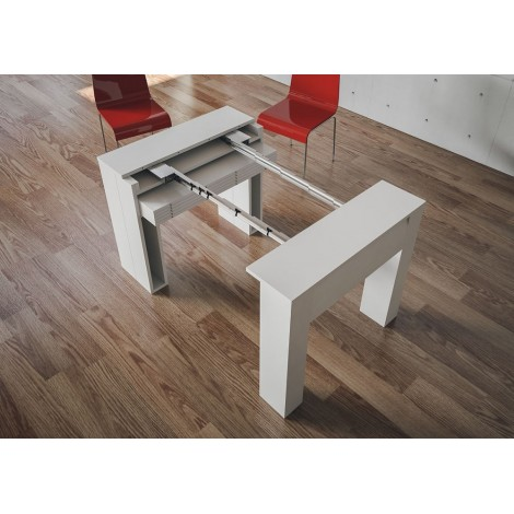Extendable wooden console available in matt white finish already mounted with internal extensions