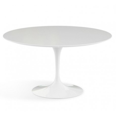 Beautiful Reproduction of the Knoll Tulip Dining Table by Eero Saarinen with top in laminate or in Carrara or Maquinia Marble