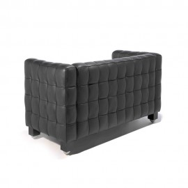 Re-edition of the Kubus sofa by Josef Hoffmann in real Italian leather two and three seats