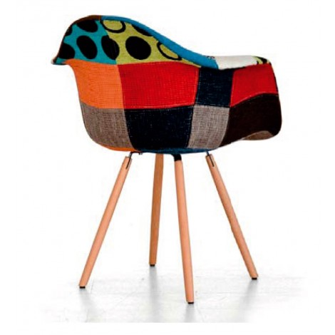 Roma armchair with wooden legs padded with polyurethane and covered with fabric with colored patchwork motif