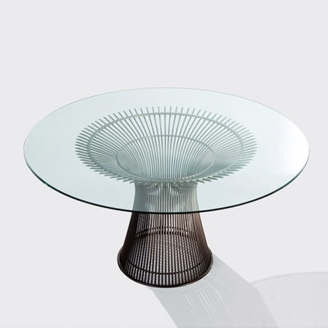 Re-edition of Platner dining table in steel and glass top