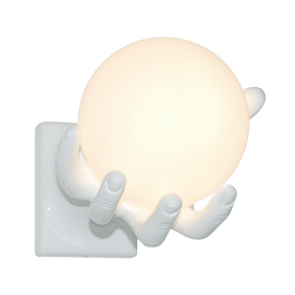 Globo wall lamp or wall lamp made of resin and glass sphere with low consumption led lighting