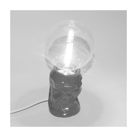 Table lamp or table lamp in resin in the shape of a crushed can with lamp not included