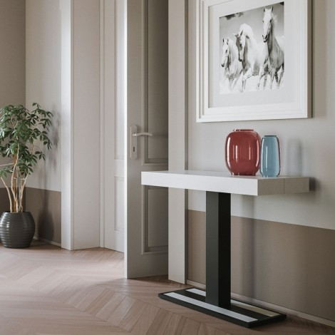 Capital extendable wooden console with metal structure equipped with telescopic structure