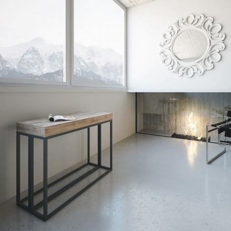 Extendable Epoca console with metal frame and wooden top available in two different finishes