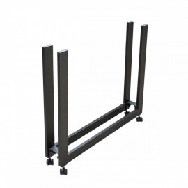 Plano extendable console with extendable metal structure and wooden shelves for extensions