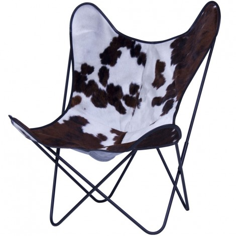 Re-edition of the Butterfly armchair by Bkf austral group in leather or cow