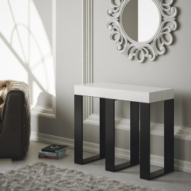 Extendable console Sintesi in extendable metal and top in veneered wood available in 2 finishes
