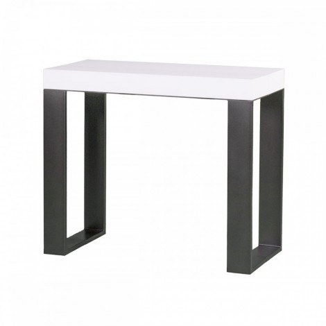 Tecno extendable console with metal structure and folding wooden top