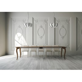 Extendable console Bassano in poplar plywood and legs in solid poplar or beech
