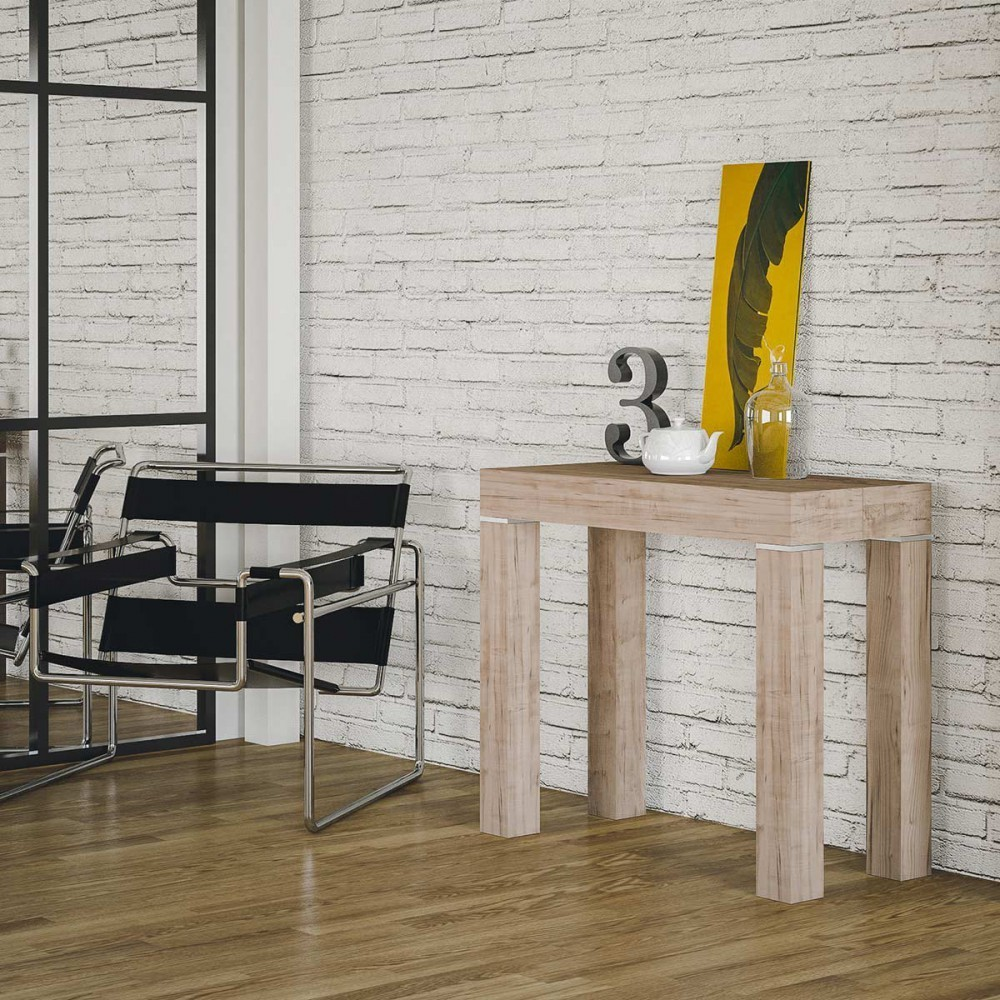 Extendable console Mixer in veneered wood available in two different finishes in nature oak and open pore white