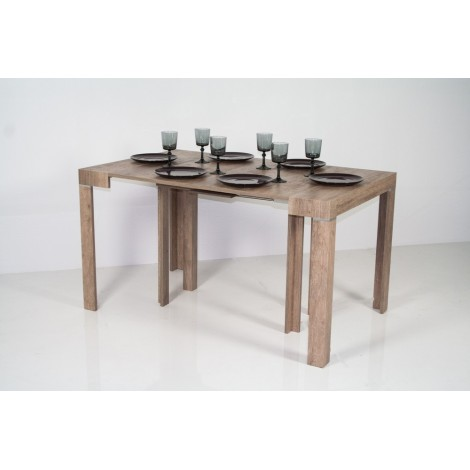 Extendable wooden console with telescopic metal structure available in 4 different finishes