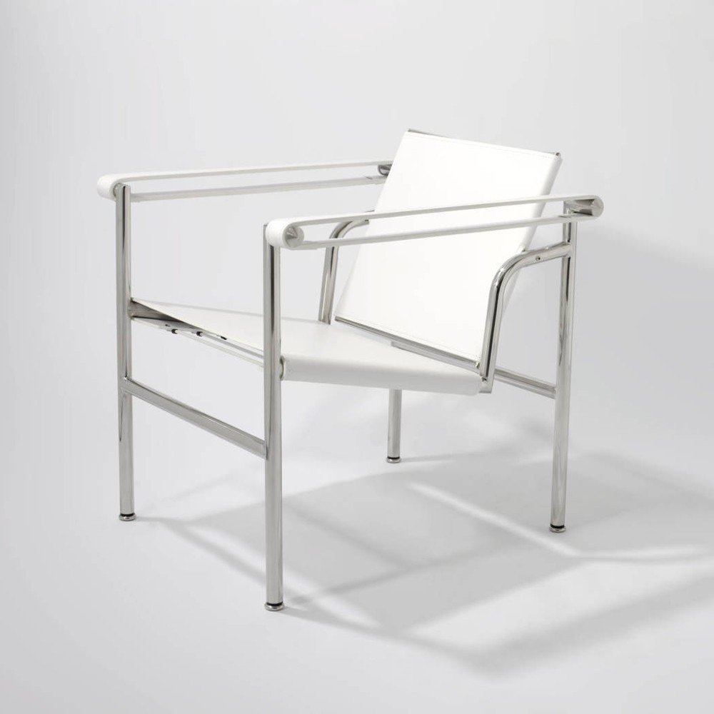 Re-edition and reproduction of Le Corbusier chair in chromed steel and leather