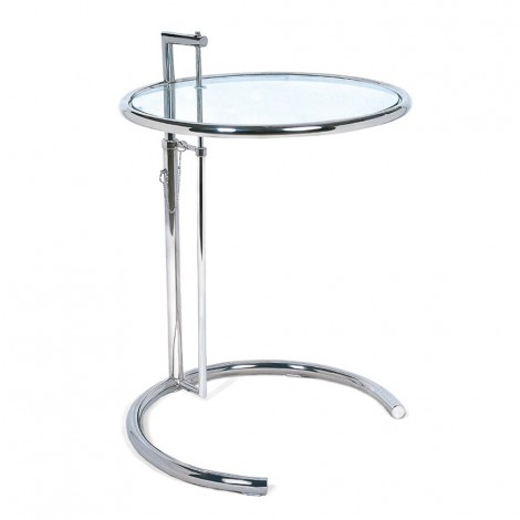Re-edition of the Eileen Gray coffee table in chromed steel and glass