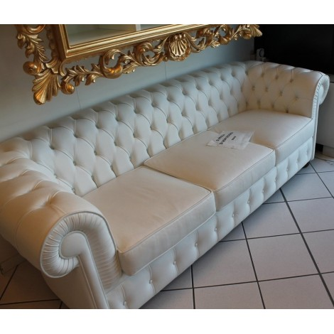 Re-edition Chester three-seater sofa upholstered in genuine Made in Italy leather available in three different finishes