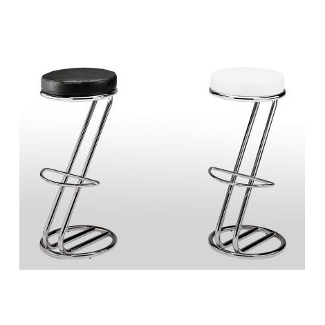 AZ anonymous stool with chromed steel structure and seat in real Italian leather