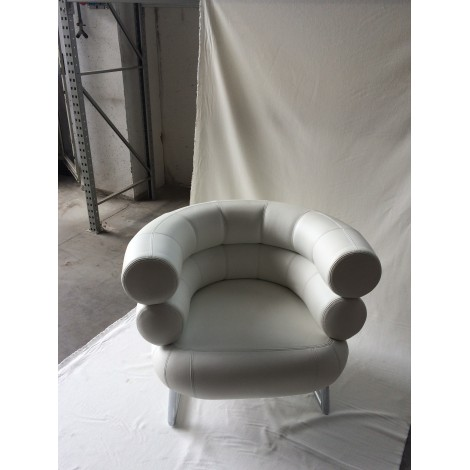 Re-edition of Bibendum armchair with chromed metal structure and black leather upholstery MADE IN ITALY 100%