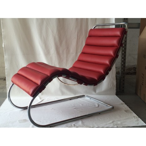 Reproduction Of Mies Van Der Rohe Chaise Longue With Chromed Metal  Structure And Leather Upholstery