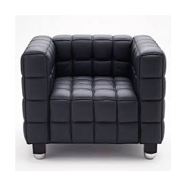 Reproduction Kubus armchair by Josef Hoffmann 100% Made in Italy in solid wood with black and gray lacquered beech feet