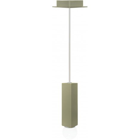 Murales ceiling lamp in square galvanized and painted tubular steel with visible E27 bulb
