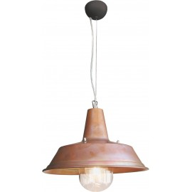Terminal suspension lamp with copper reflector and transparent polycarbonate sphere. Made in Italy 100%
