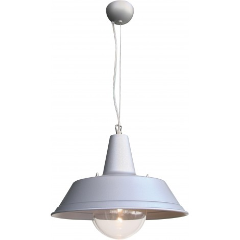 Terminal pendant lamp with galvanized steel shade and polycarbonate lamp cover sphere