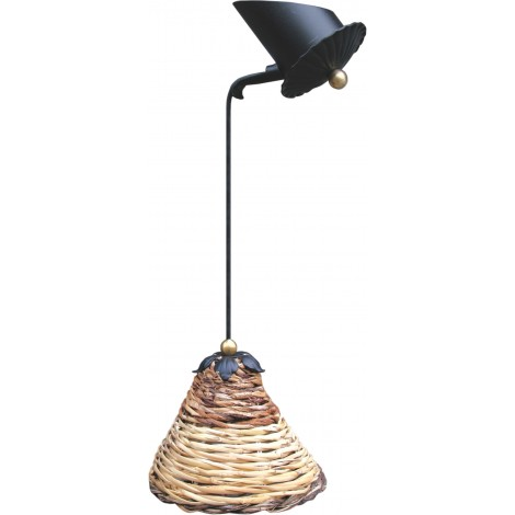 Dedalo suspension lamp in wrought iron with lampshade in woven cane MADEIN ITALY 100%