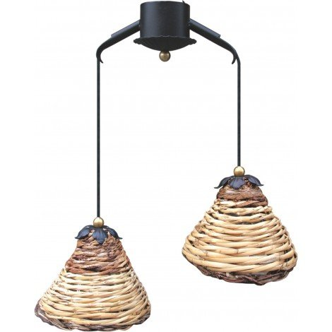 Dedalo suspension lamp with two lights in wrought iron and cane weave lampshade