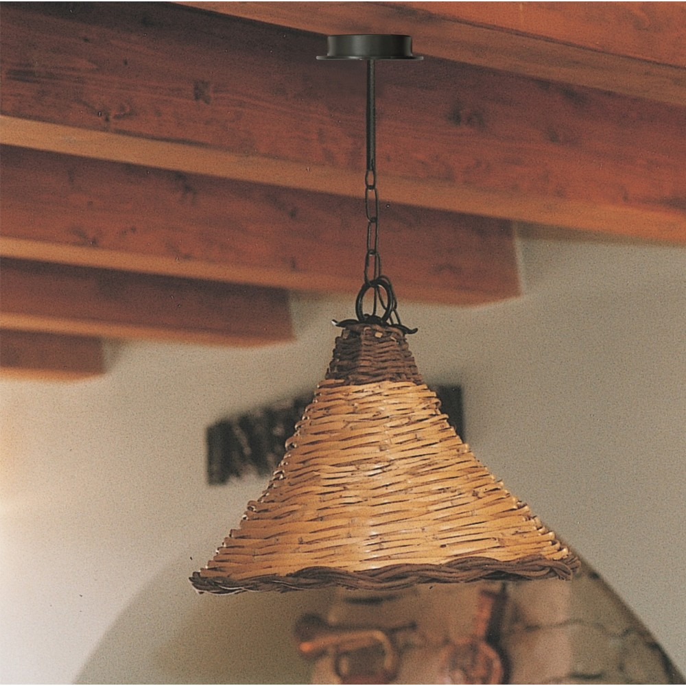 Dedalo Grande suspension lamp in wrought iron with lampshade in woven cane