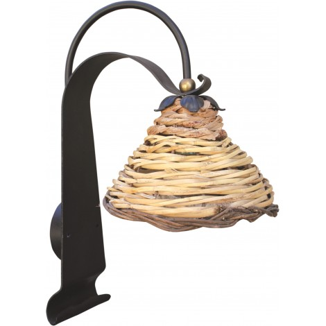 Wrought iron wall light Dedalo with woven cane shade MADE IN ITALY 100%
