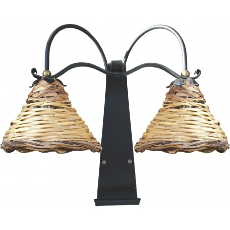 Dedalo wall lamp with two lights in wrought iron with lampshade in woven cane