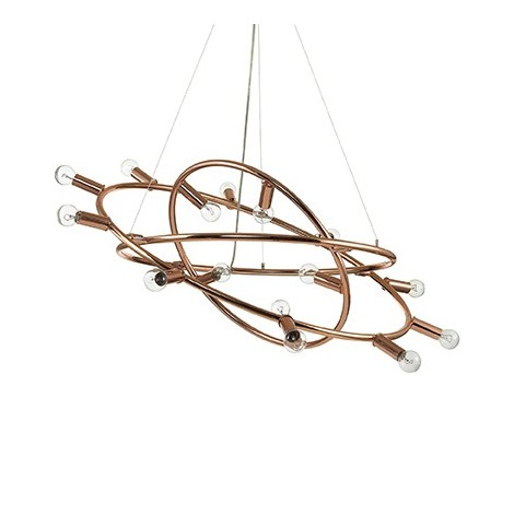 Cosmo ceiling lamp in metal with copper finish with 15 lights, lamp type E 14
