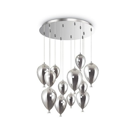 Clown ceiling lamp in metal with chromed frame and balloon-shaped glass in blown glass