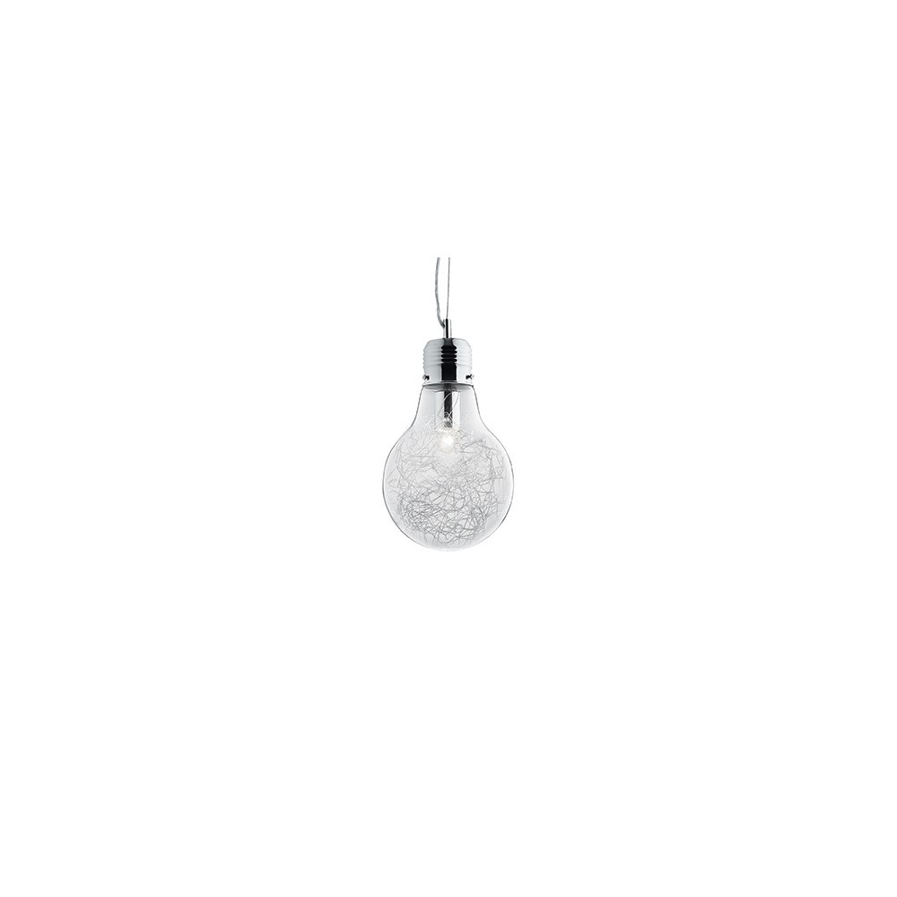 Luce Max suspension lamp in the shape of a lamp with metal structure and blown glass available in several versions