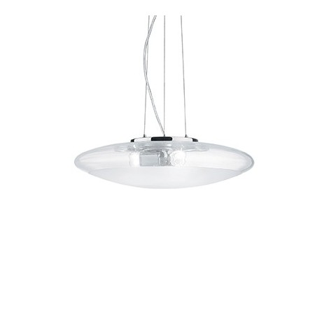 Smarties Clear suspension lamp in chromed metal and diffuser in transparent and sandblasted glass in the central area
