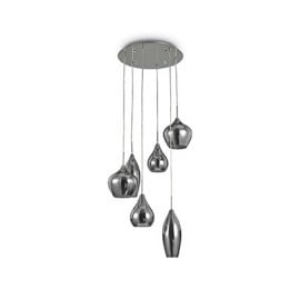 Soft 6-light pendant lamp with smoked metal frame and blown smoked glass