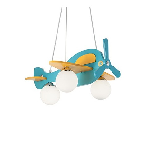 Avion Suspension Lamp for bedrooms structured in wood with chromed details and glass diffusers