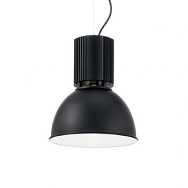 Hangar suspension lamp in anodized aluminum and white enameled interior adjustable in height