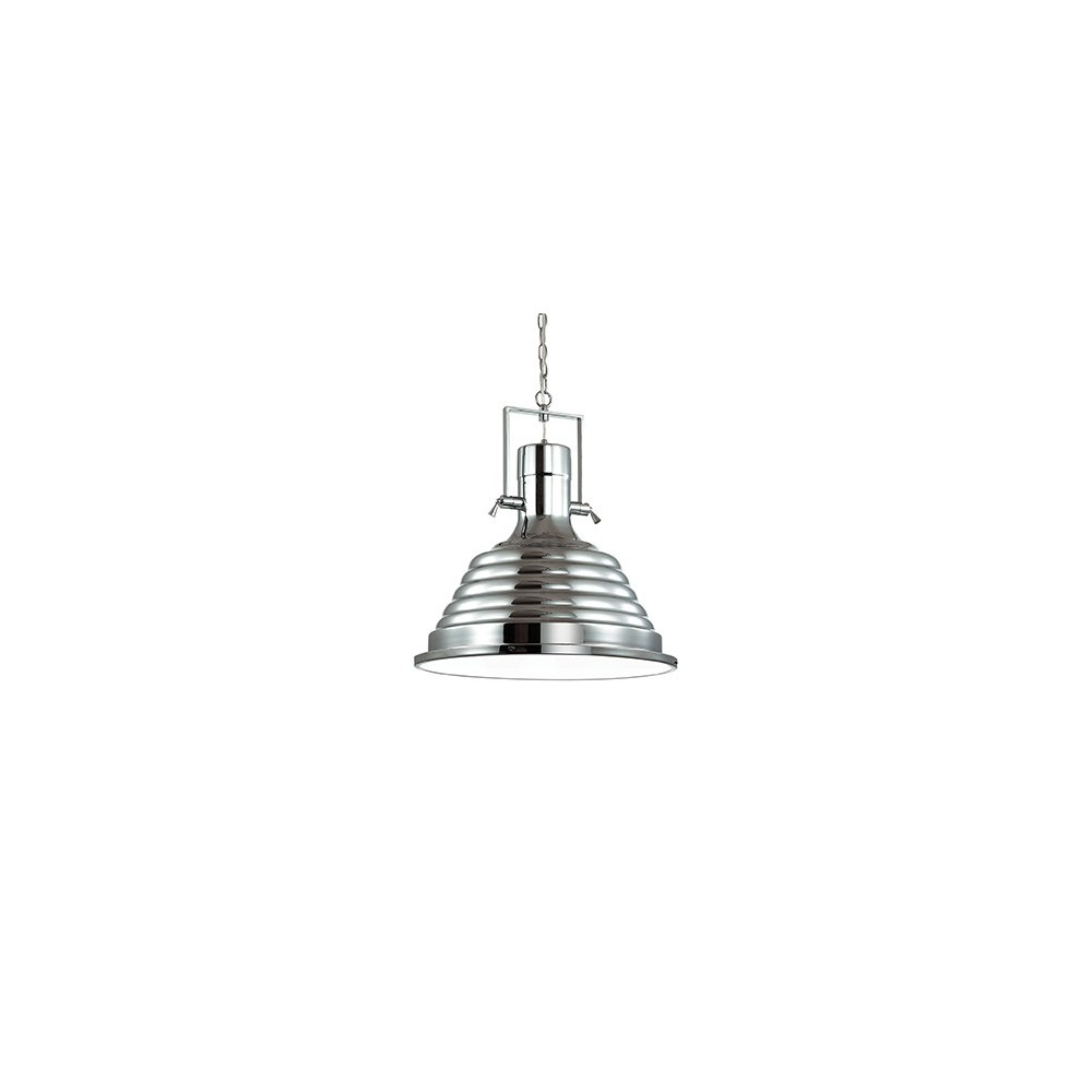 Fisherman pendant lamp in metal with glass plate as diffuser. Available in 3 different finishes