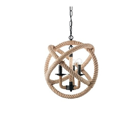 Suspension lampCord 3 and 6 lights with black metal frame and details and parts covered in natural hemp rope
