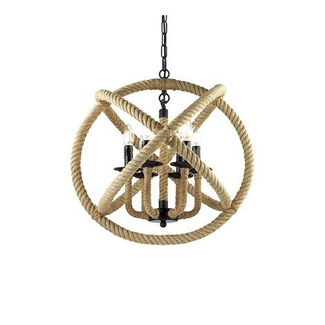 Corda suspension lamp 3 and 6 lights with frame and details in black metal and parts covered in natural hemp rope