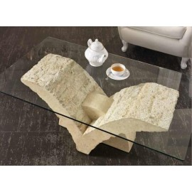 Papillon dining table with 12 mm thick glass top and fossil stone base