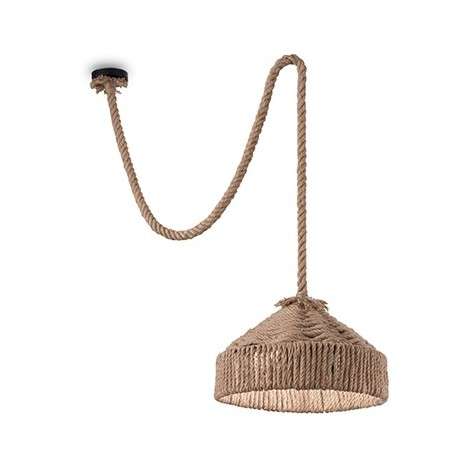 Hemp pendant lamp made of metal with hemp covered electric cables. Available in versions 1, 2 and 6 lights