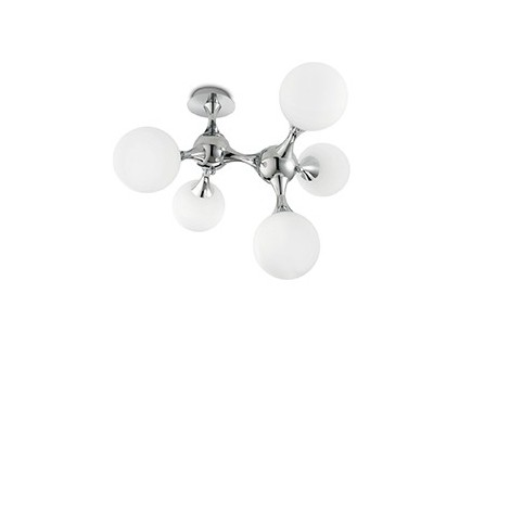 Ceiling Lamp Nodi Bianco with 5 lights in chromed metal and white blown and etched glass. Rotating joining elements