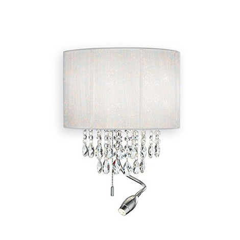 Opera metal wall lamp with silver, white or black lampshade in pvc foil with metallic reflections and covered with threads