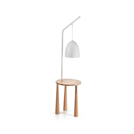 Floor lamp in black or matt white metal with structure in turned natural wood. Lamp holder E27